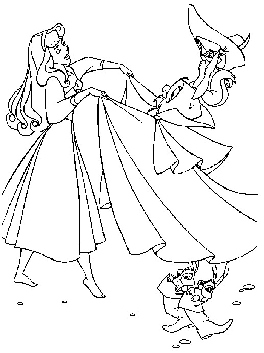 Sleeping Beauty And Prince Coloring Pages